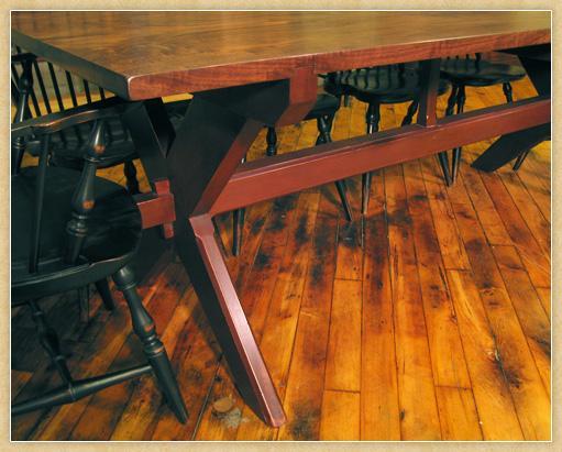 Walnut Saw Buck Table, Detail