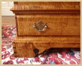 Curly Maple Dower Chest, Handle Detail